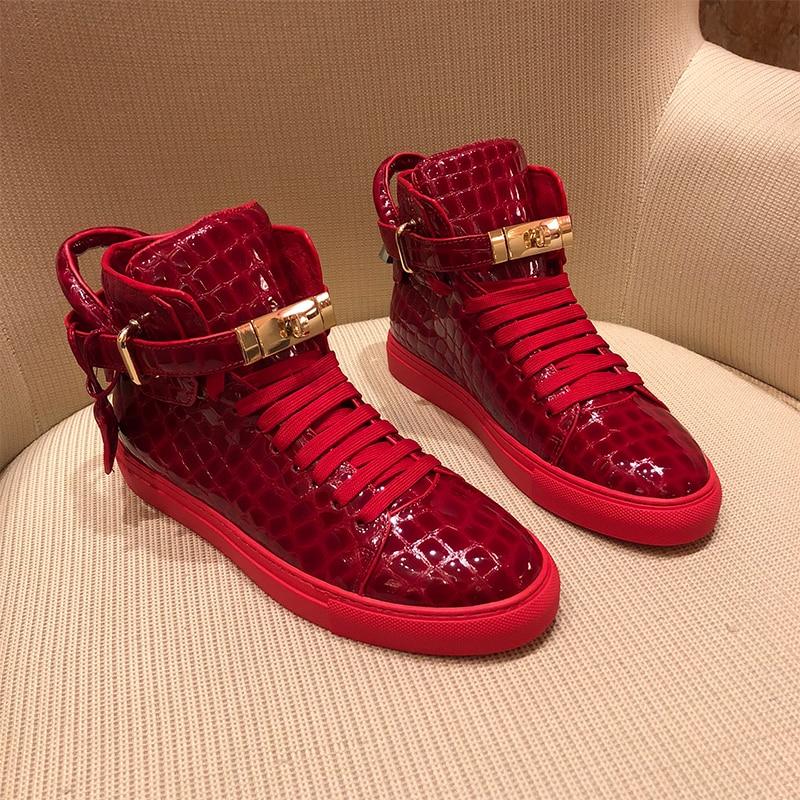 أحذية رياضية رجالية من جلد التمساح الطبيعي ، أحذية رياضية عالية الجودة مع قفل من الدانتيل ، نعل مسطح ، نمط غير رسمي ، جلد طبيعي