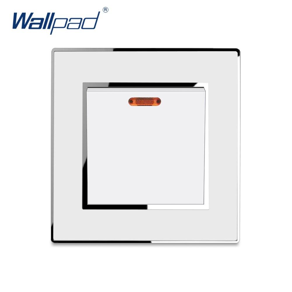Interruptor de cocina de agua 45A, Panel de pared de lujo, interruptores, Panel acrílico blanco, borde de plata CE