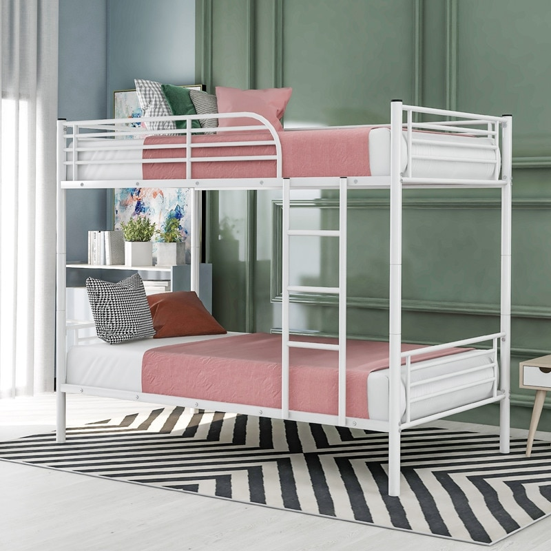 Twin-Over-Twin Metal Bunk Bed In Silver Finish