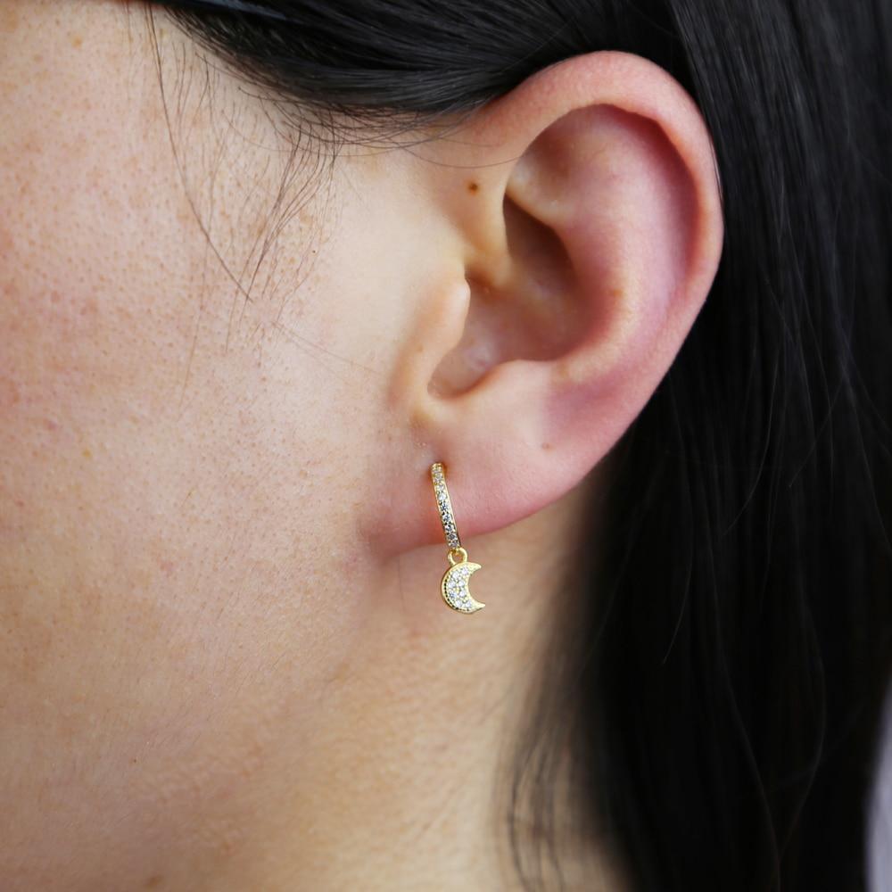 Wholesale cute 925 sterling silver crecent moon star earrings For women ladu grils new styles real silver earrings for wedding