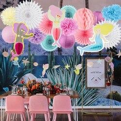 Festa de aniversário da sereia suprimentos banner lanterna favo de mel ventilador de papel pequena sereia sob o mar chá de bebê decoração de aniversário