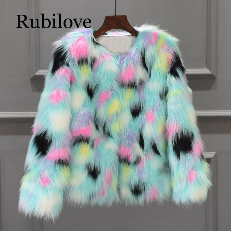 hairy maclary scattercat Furry Fur Coat Women Fluffy Warm Long Sleeve Gradient Color Outerwear Autumn Winter Coat Jacket Hairy Collarless Overcoat