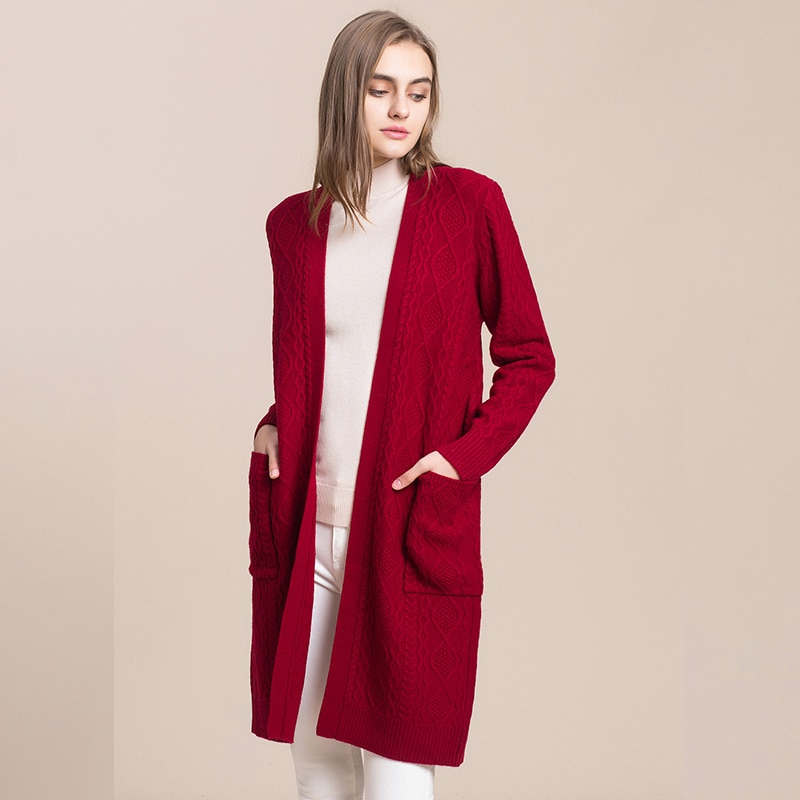 Fall and Winter Sweater Fashion Thread Solid Color Long-sleeve Sweater 100% Wool Loungewear Thickening Mid-length Knit Outerwear enlarge