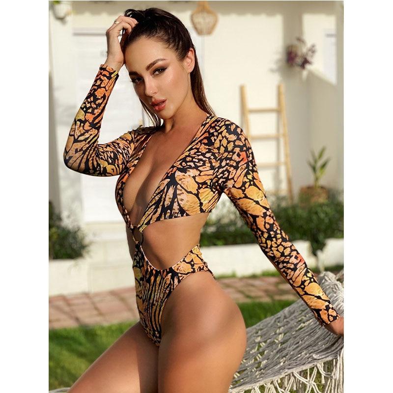 Print Long Sleeve Swimsuit One Piece Bodysuit Sexy Plunge V Neck Monokini 2020 New Woman Hot High Cut Bathing Suits Wild Bikini