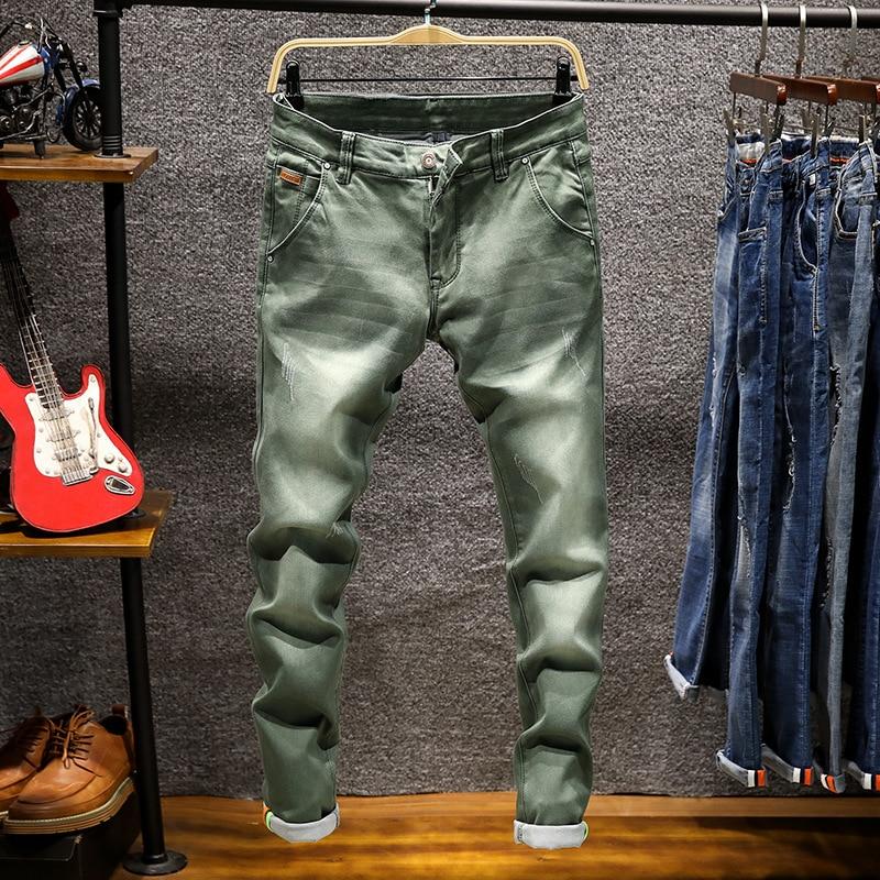 Новые трендовые мужские облегающие черные джинсы, эластичные прямые джинсовые брюки, мужские потертые джинсовые брюки, байкерские джинсы, ...