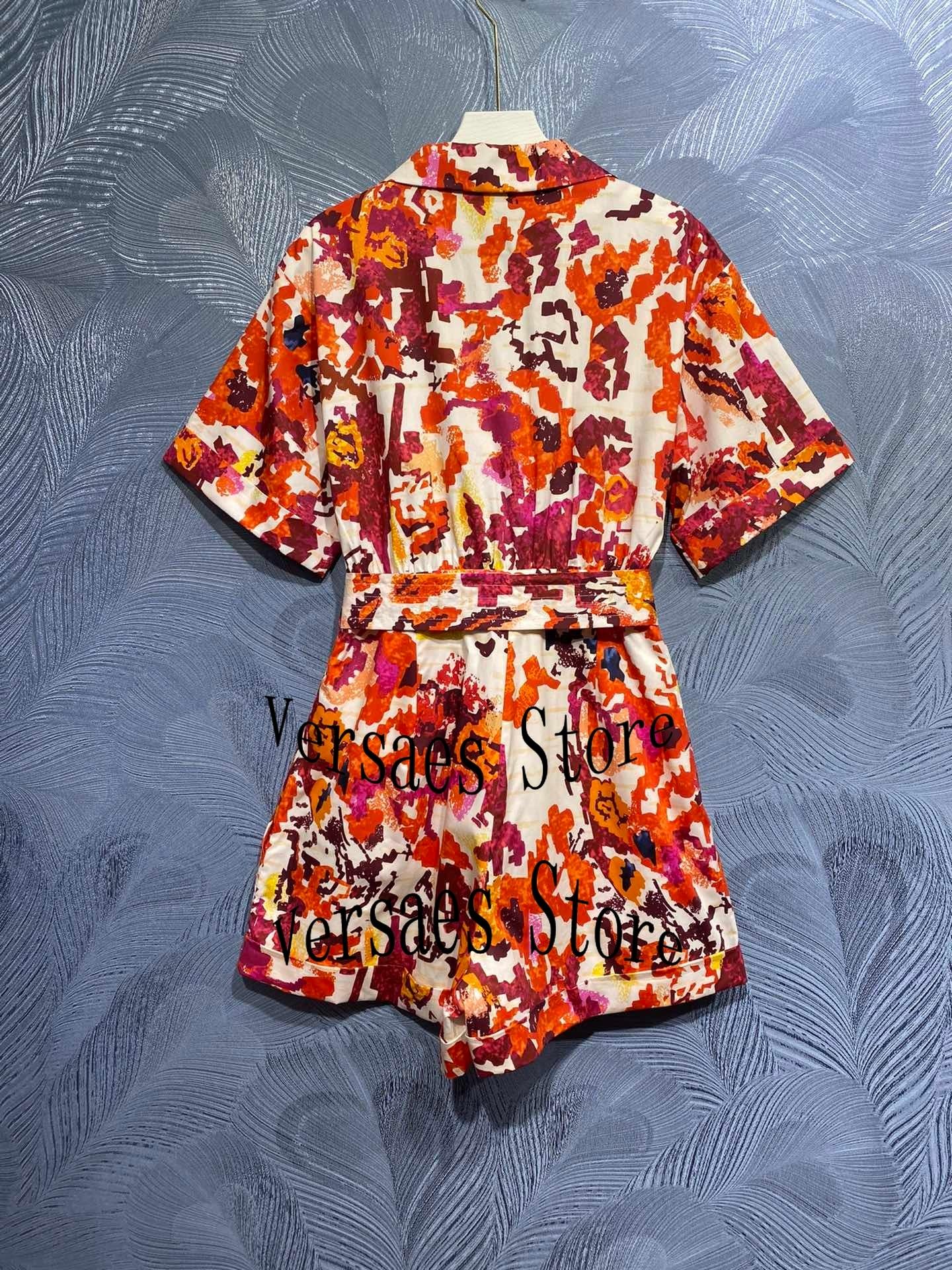 luxury brand graffiti printing fashion women's temperament changing age reducing cotton short sleeve printing one-piece shorts enlarge