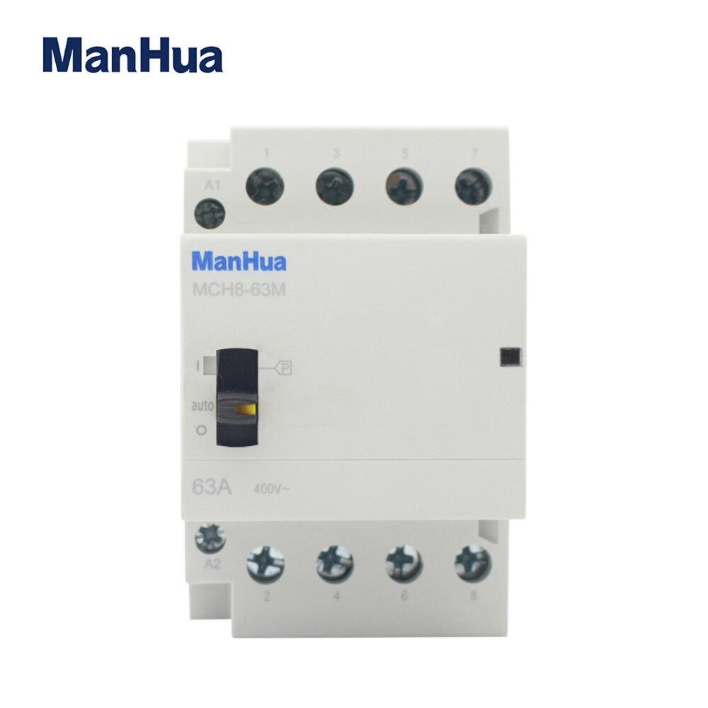 ManHua MCH8-63M 4P 63A 220V/230V 50/60HZ, carril Din hogar ac contactor Modular con interruptor de Control Manual