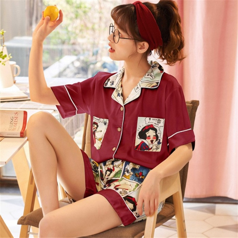 Pijamas XIFER de verano para mujer, Pijamas cortos de manga corta con solapa, pijamas de princesa de dibujos animados, ropa de manga corta para el hogar para mujer
