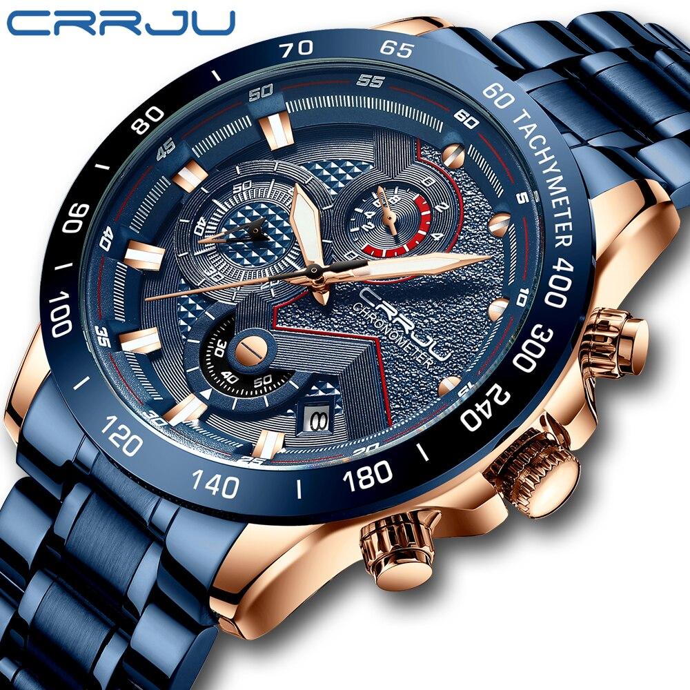 2021 CRRJU موضة جديدة رجالي ساعات مع الفولاذ المقاوم للصدأ العلامة التجارية الفاخرة الرياضة ساعة كوارتز بكرونوجراف الرجال Relogio Masculino