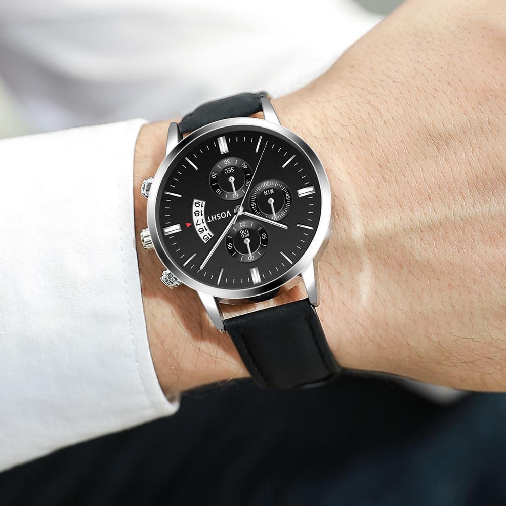 relogio masculino watches men Fashion Sport Stainless Steel Case Leather Band watch Quartz Business Wristwatch reloj hombre QW01