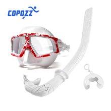 COPOZZ 전문 스쿠버 다이빙 마스크 + 스노클링 튜브 세트 안티-안개 실리콘 스커트 수영 다이빙 고글 성인을위한 장비