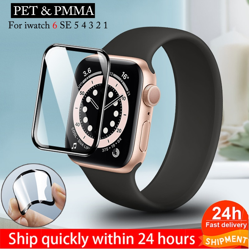 for apple watch tempered glass 44 38 42 40 mm full coverage curved edge frame bumper for i watch series 4 3 2 1 screen protector Screen protector film for apple watch 6\se\5\4 38 40 44 42mm PET & PMMA 3D Curved Edge HD Tempered Glass for Apple Watch Series