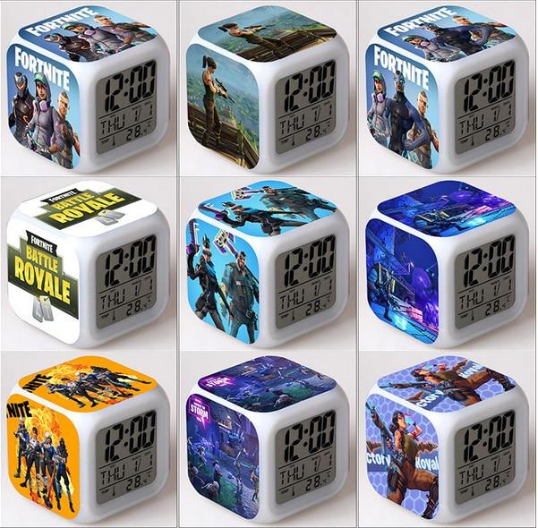Fortnites Game Kids Alarm Clock Wake Up Light Digital Alarm Clock Toy LED Fortress Clock Color Changing Table Reveil Wekker