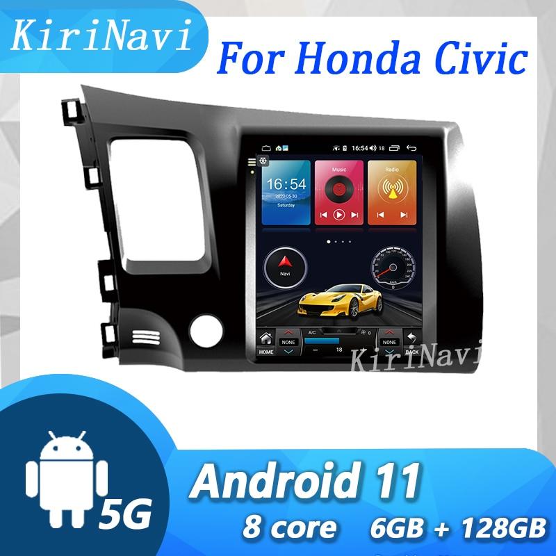 KiriNavi راديو سيارة هوندا سيفيك ، مشغل وسائط ، DVD ، GPS ، 4G 10.4-9.0 ، Android 2004 ، شاشة عمودية 2009 بوصة ، نوع تسلا