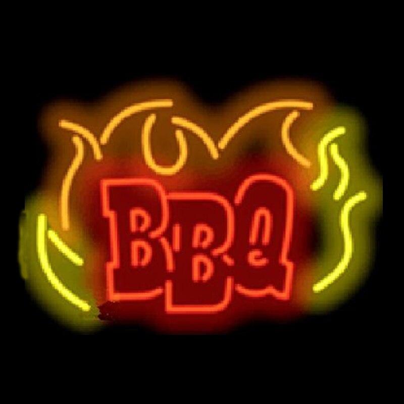 """Barbacoa barbacoa restaurante comida comer neón signo personalizado hecho a mano verdadero tubo de vidrio cerveza Bar fiesta decoración pantalla neón signos 24 """"X 20"""""""