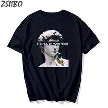 Harajuku Мужская футболка забавная микеланжело статуя Давида Vaporwave футболка с коротким рукавом хип-хоп Уличная Футболка мужская футболка
