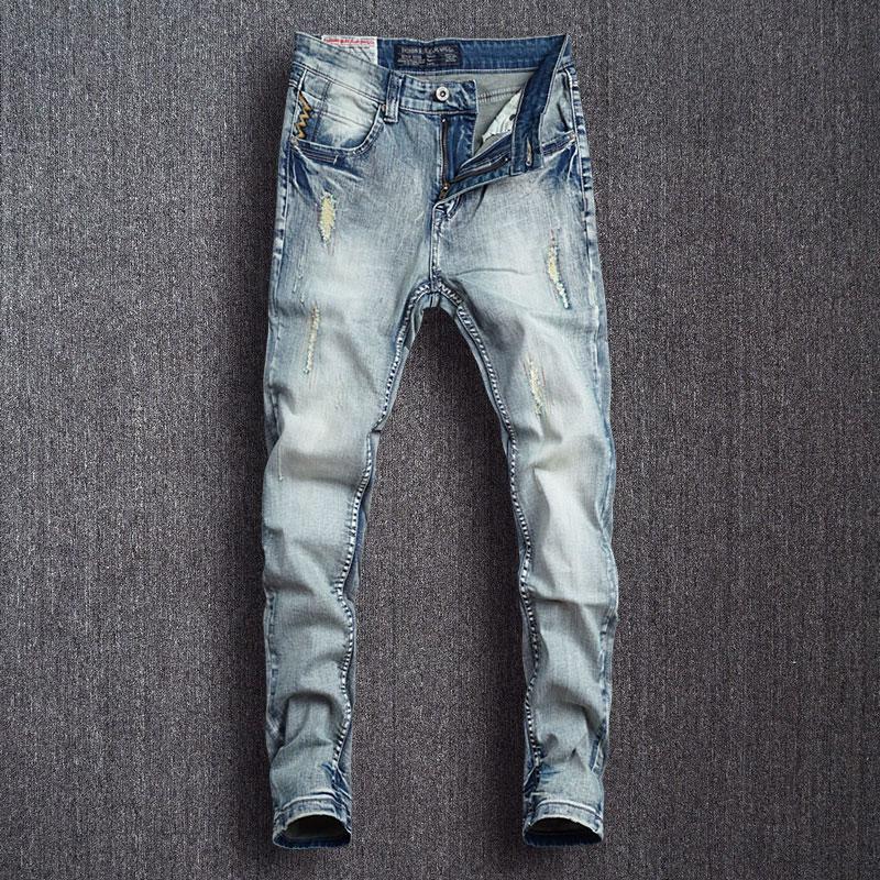 Модные мужские джинсы в Корейском стиле ретро светло-голубые Эластичные зауженные рваные джинсы мужские дизайнерские повседневные брюки-к...