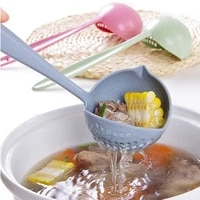 1pcs tablespoons 2 in 1 long handle soup spoon home strainer cooking colander kitchen scoop plastic ladle tableware scoop spoon