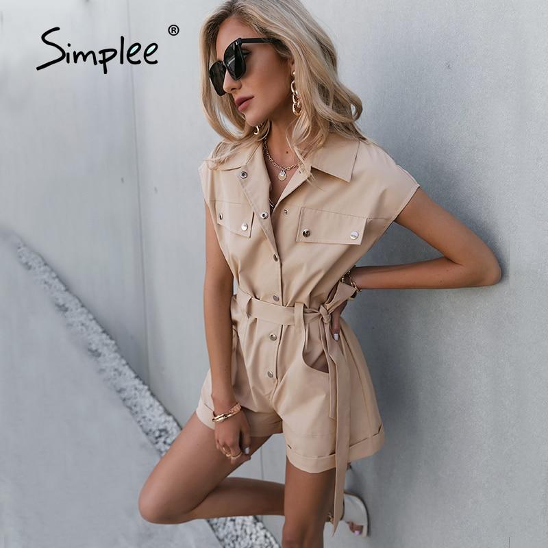 Simplee لون نقي أكمام جيوب حزام رومبير واحدة الصدر بذلة باردة رومبير عالية الشارع عموما موضة رومبير جديد