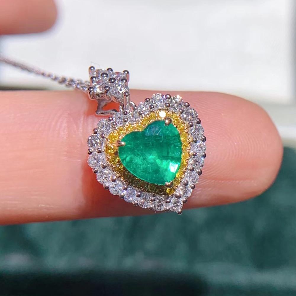 Aeew Jewelry oro blanco 18K 0,84ct collar de Esmeralda Natural corte de corazón collar de piedras preciosas verdes joyería de las mujeres