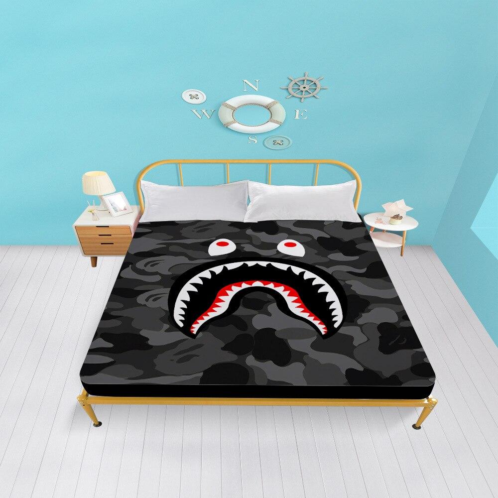 Bape الكرتون طباعة غطاء سرير المخدة الفراش المجهزة ورقة المفرش غطاء مرتبة مع شريط مرن
