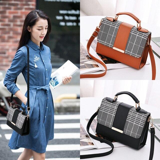British Fashion Simple Small Square Bag Women's Designer Handbag High-quality PU Leather   Shoulder bags