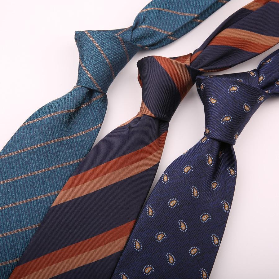 Linbaiway 8cm Polyester Neck Ties for Men Skinny Blue Red Necktie Striped Narrow Gravata Business Female Cravat Custom Logo недорого