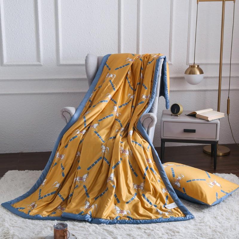 1 قطعة خمر الصيف الفراش لحاف عكسها مريحة الأزهار بارد الهواء الحرير مكيف المطبوعة سوبر الملك الملكة حجم بطانية