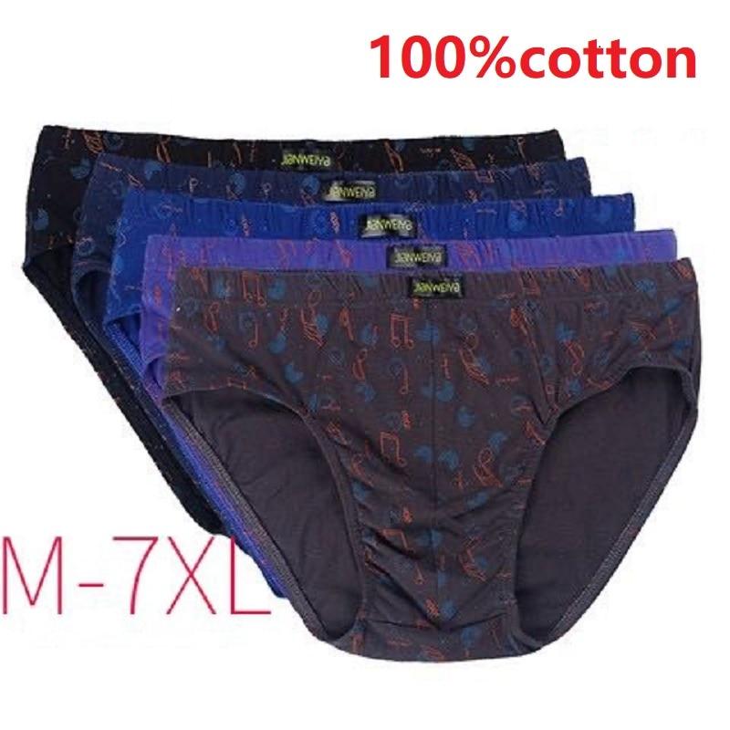 5pcs/lot 7XL 6XL 100% Cotton Male Underwear Comfort Men printing Briefs Comfortable Underpants Panties