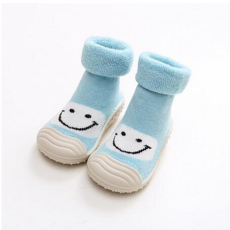2020 winter Baby Socks With Step Sock baby Toddler Rubber face steps Anti-slip smile Leather Soles Indoor Floor shoes