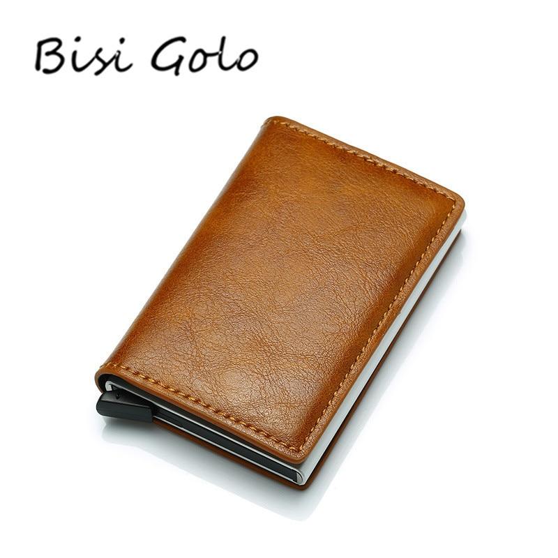 Чехол-Кошелек besi GORO мужской, винтажный, с защитой от кражи, для банковских карт, Rfid, из искусственной кожи, унисекс, алюминиевый