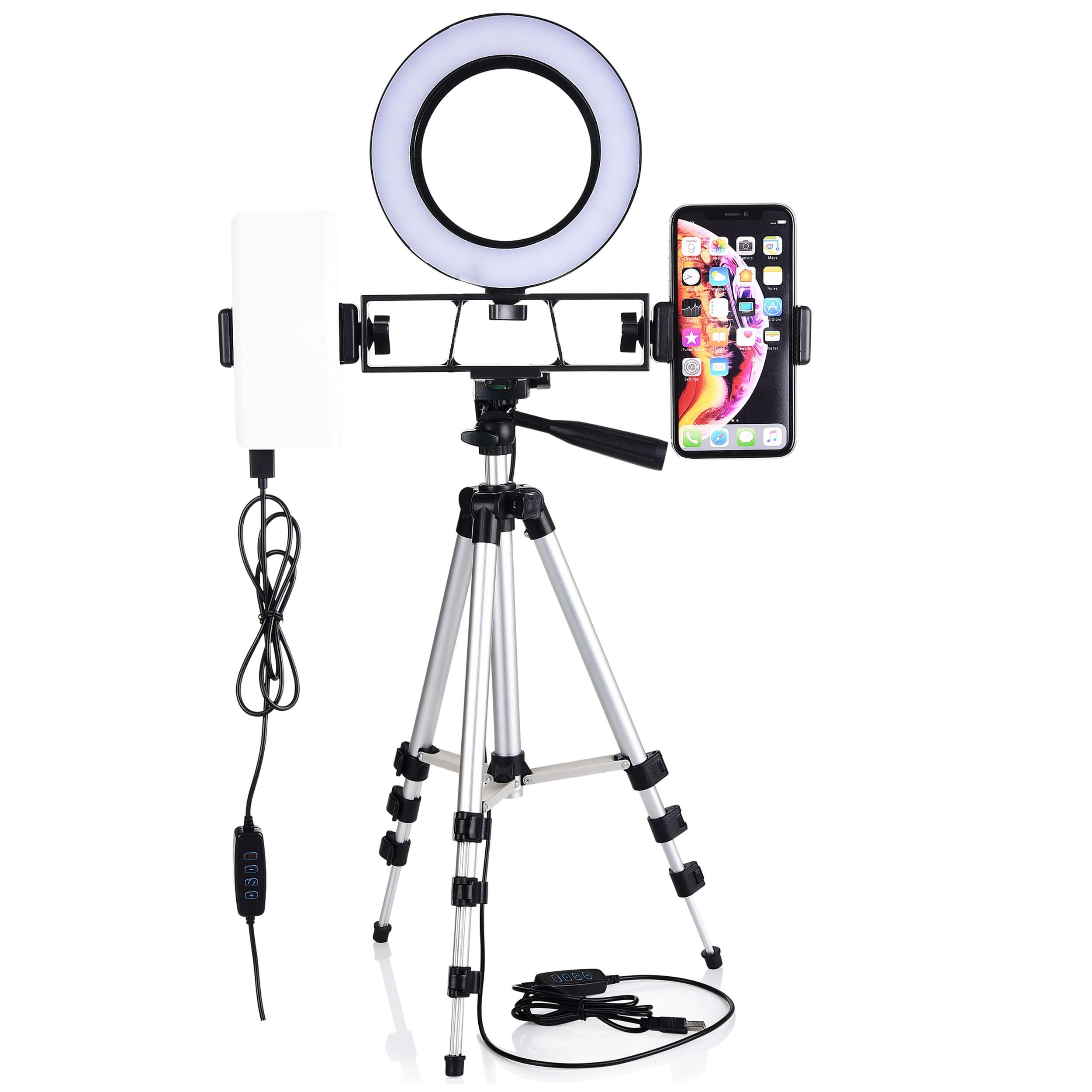 Ring Light Kit Cell Phone Holder Desktop LED Lamp 3 Light Modes Brightness Level with Stand Camera Tripod for Video