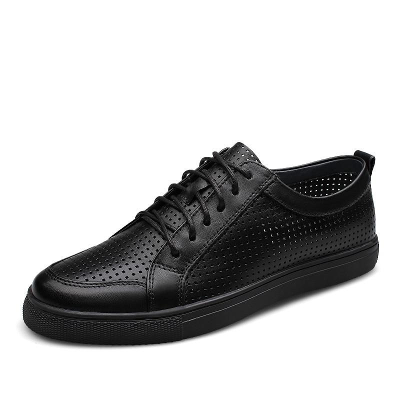 Zapatos de cuero de moda para hombre, zapatillas con cordones xofords, zapatos casuales para hombre, cuero genuino, calado, zapatos planos para caminar para hombres, envío gratis