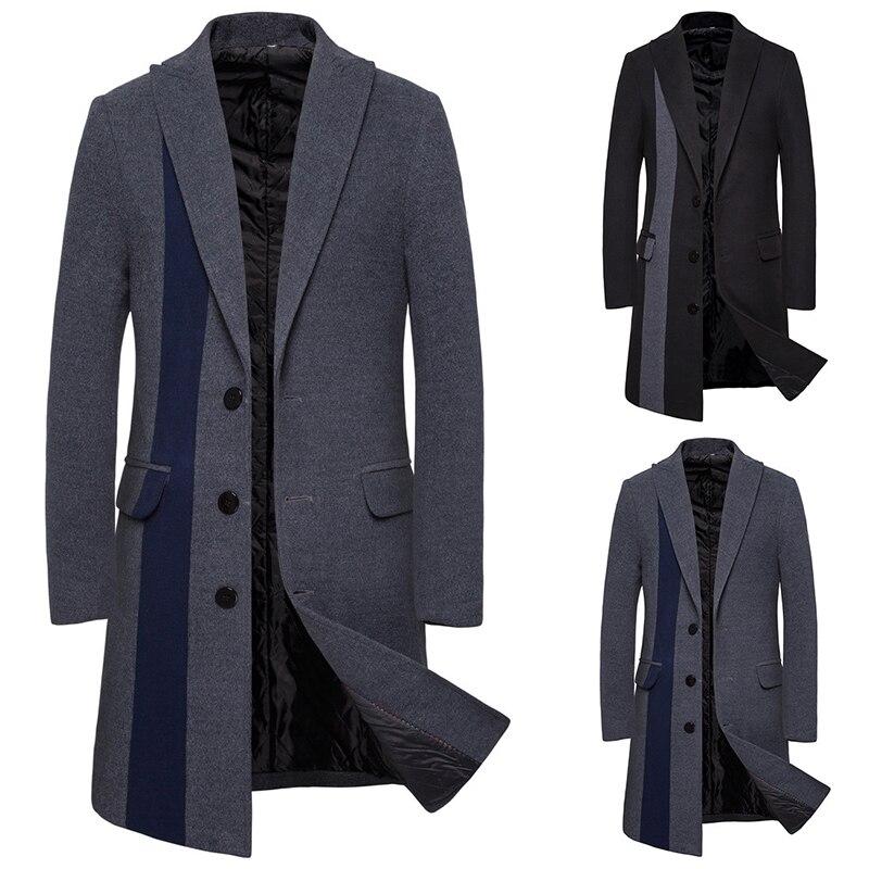 2019 abrigo de lana de invierno para hombre abrigo de gabardina ajustado cálido grueso de lana mezcla de lana abrigo de hombre