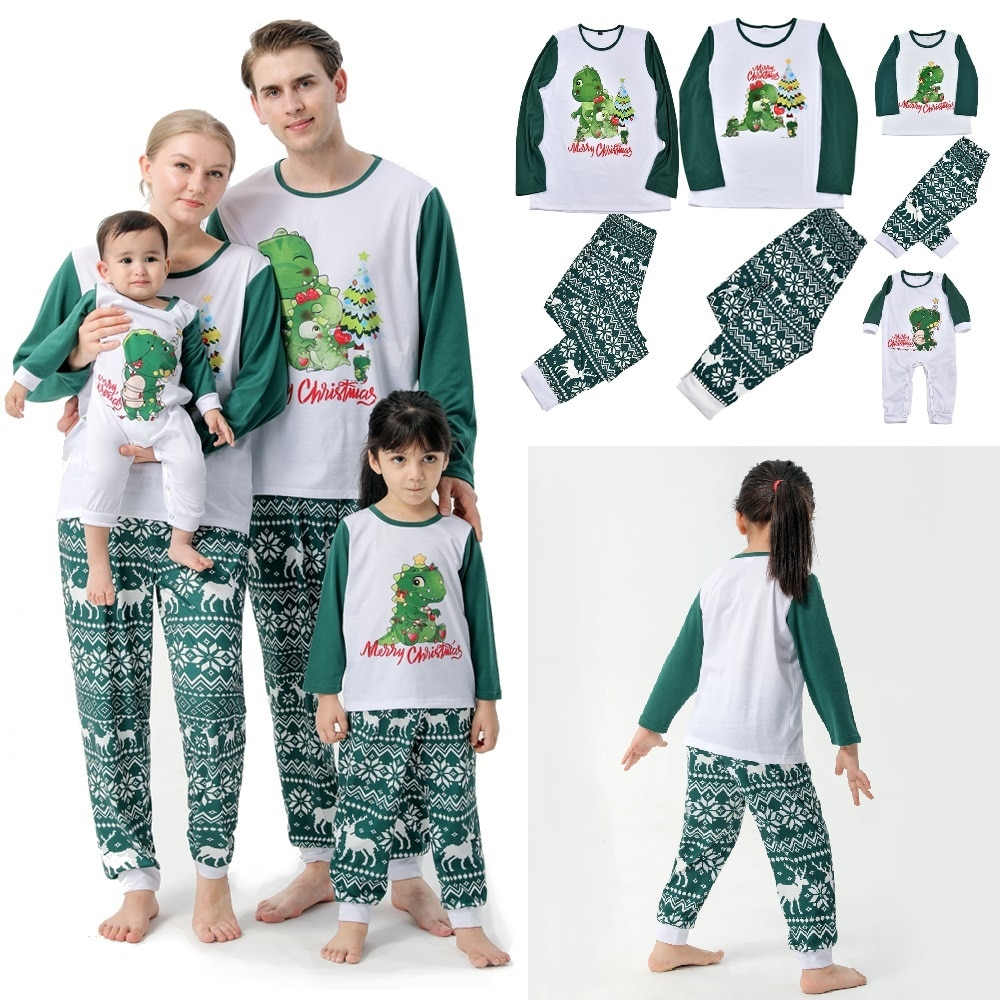 Фото - 2021 Christmas Family Matching Pajamas Sets Dinosaur Father Mother Kids Baby Sleepwear Mommy and Me Xmas Pj's Clothes Tops+Pants haig m father christmas and me