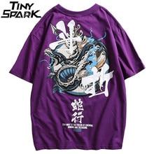 Hip Hop T Shirt Men Snake Chinese Charaters T-Shirts Harajuku Streetwear 2020 Spring Summer Tshirt Short Sleeve Tops Tees Cotton