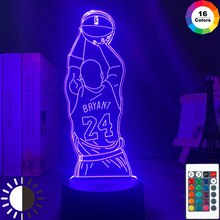 Luz Led de noche Kobe, figura de disparo de salto, vista trasera, decoración de dormitorio, lámpara de escritorio, lámpara 3d, Dropshipping, regalos conmemorativos de Kobe Bryant