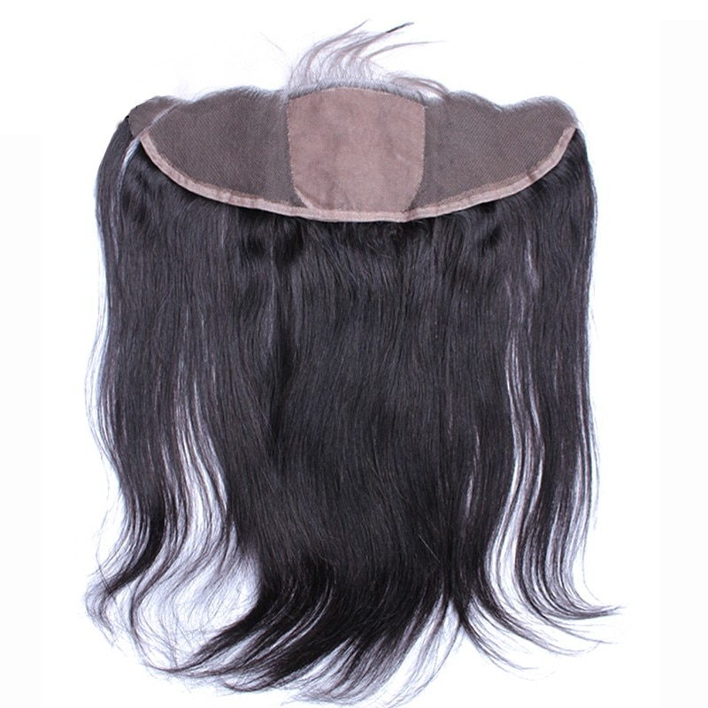 DLME Silky Straight Silk Base Closure Brazilian 13X4 Lace Frontal Closure With Baby Hair Virgin Natural Hairline