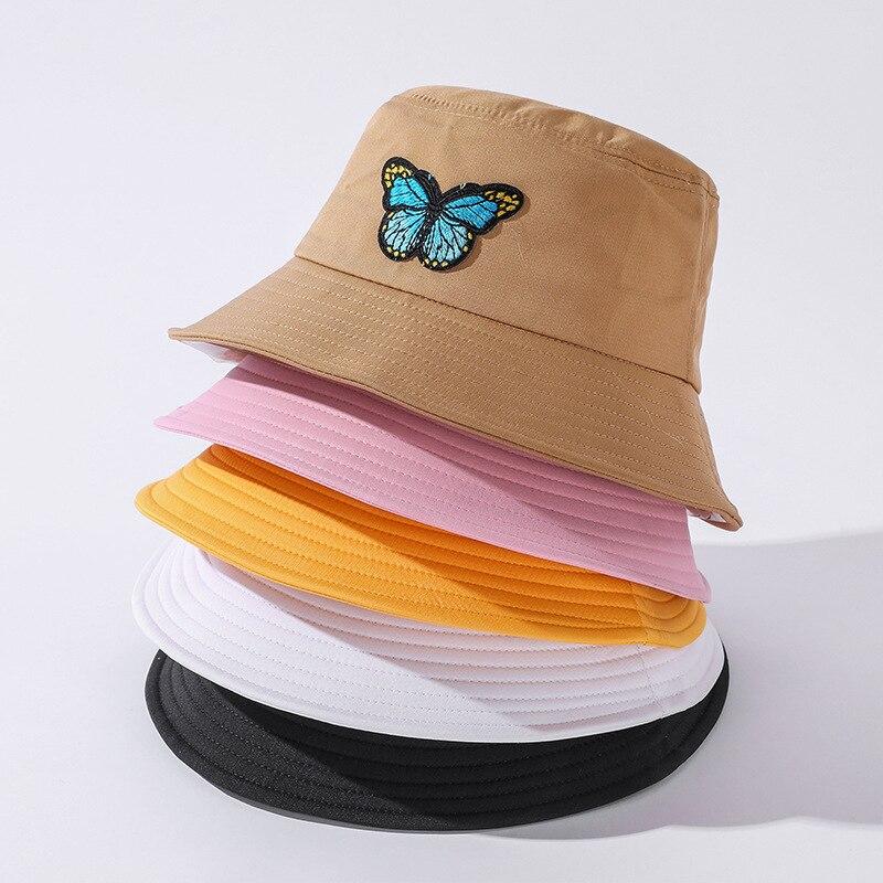 New Unisex white Bucket Hats Women Butterfly Summer Sunscreen Panama Hat Pink Sunbonnet Fedoras Outdoor Fisherman Beach Cap