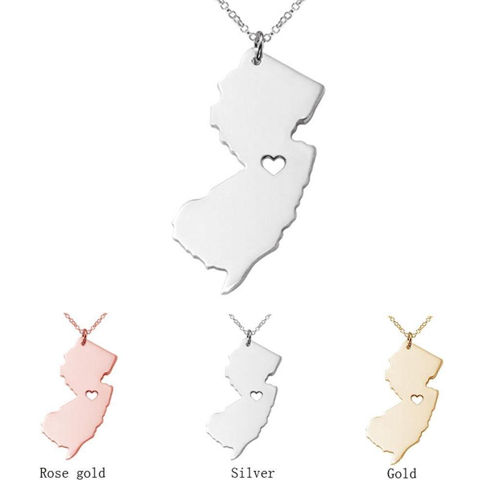 Moda Unisex Jersey mapa colgante encanto collar de cadena de joyería fina...
