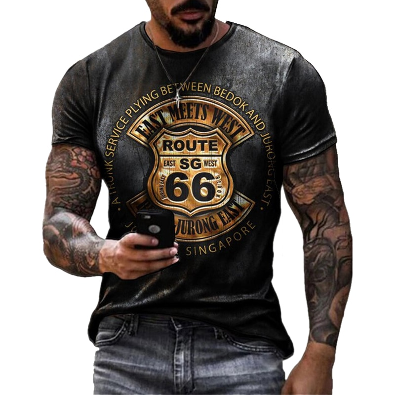 Summer New Mens T Shirts Oversized Loose Clothes Vintage Short Sleeve Fashion America Route 66 Letters Printed O Collared Tshirt