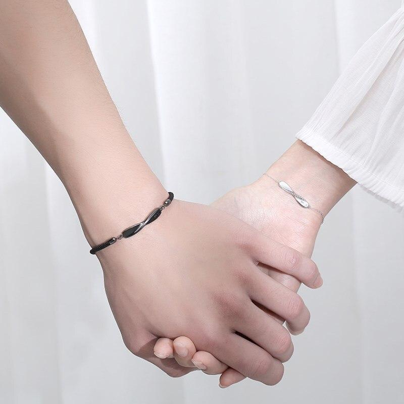 Модная бижутерия, черный веревочный браслет, браслет для пары, посеребренный женский браслет, аксессуары, подарки на годовщину, Женская цеп...