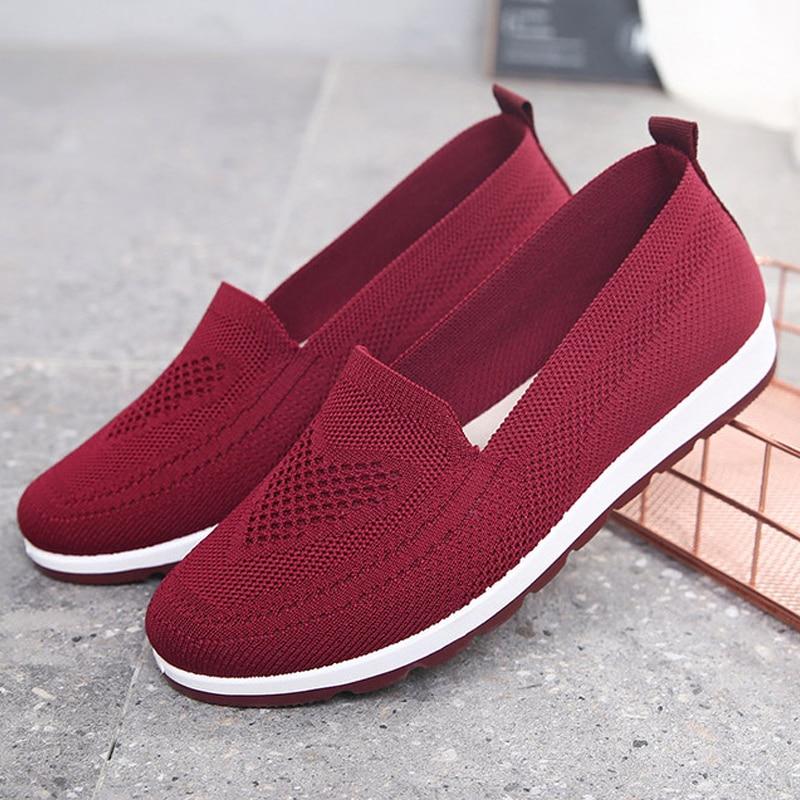 Femininos de Malha Sapatos de Malha Verão ao ar Sapatos Vulcanizados Leve Casual Respirável Meia Calça Livre Feminino Baixos 2021