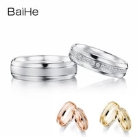 baihe real solid 18k white gold hsi natural diamonds ring engagement gift man women ring fine jewelry making trendy couple ring