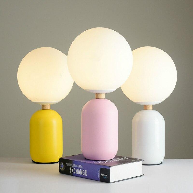 اللون معكرون نوم السرير الجدول مصباح الشمال نمط دراسة مصباح طاولة الديكور كرة زجاجية مصباح لغرفة المعيشة