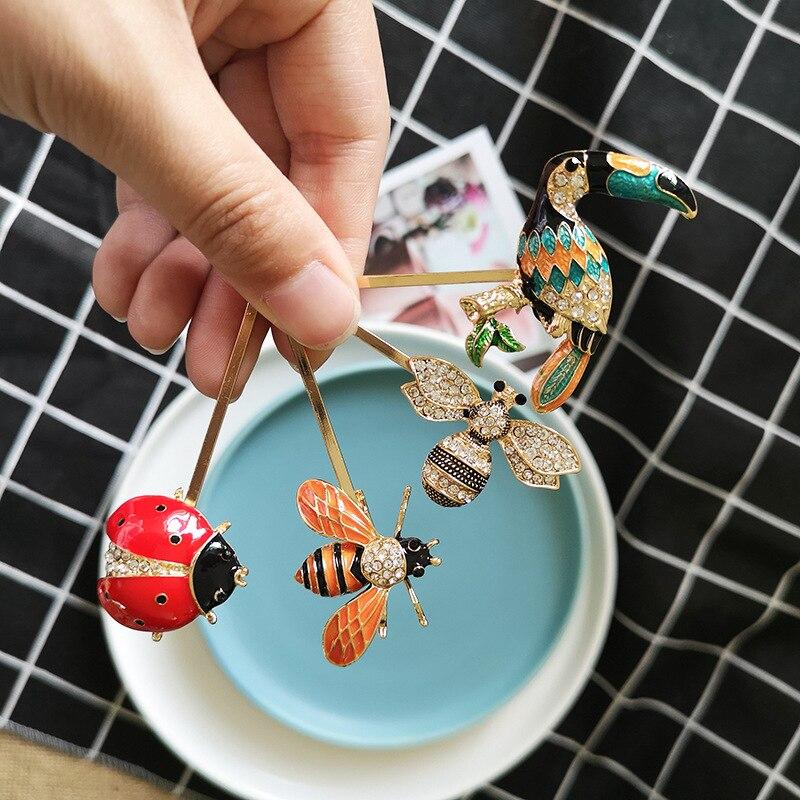 HZ 2019 nueva abeja libélula Cactus piña Rhinestone Ladybug Metal adorno Barrettes horquilla accesorios para el cabello para mujeres