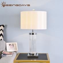 Clear Watermark Glass Crystal Cylinder Table Lamp White Black Lampshade LED Desk Lamp Bedside Lamp 220v 110v EU PlugHome Decor