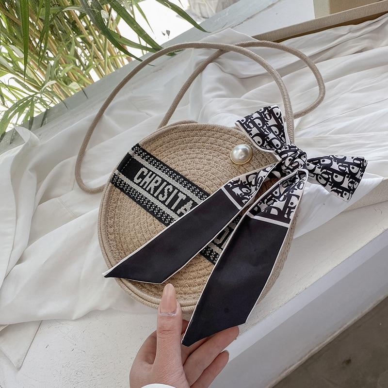 2021 New Straw Bag Women Hand-Woven Handbag Circular Shape Rattan Big Capacity Drawstring Casual Travel Beach Shoulder