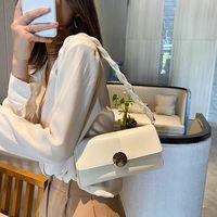 Summer Solid Color Vintage Armpit Baguette Bag 2021 New Style Fashion Luxury Women\'s Small Shoulder Bag Leather White Handbag