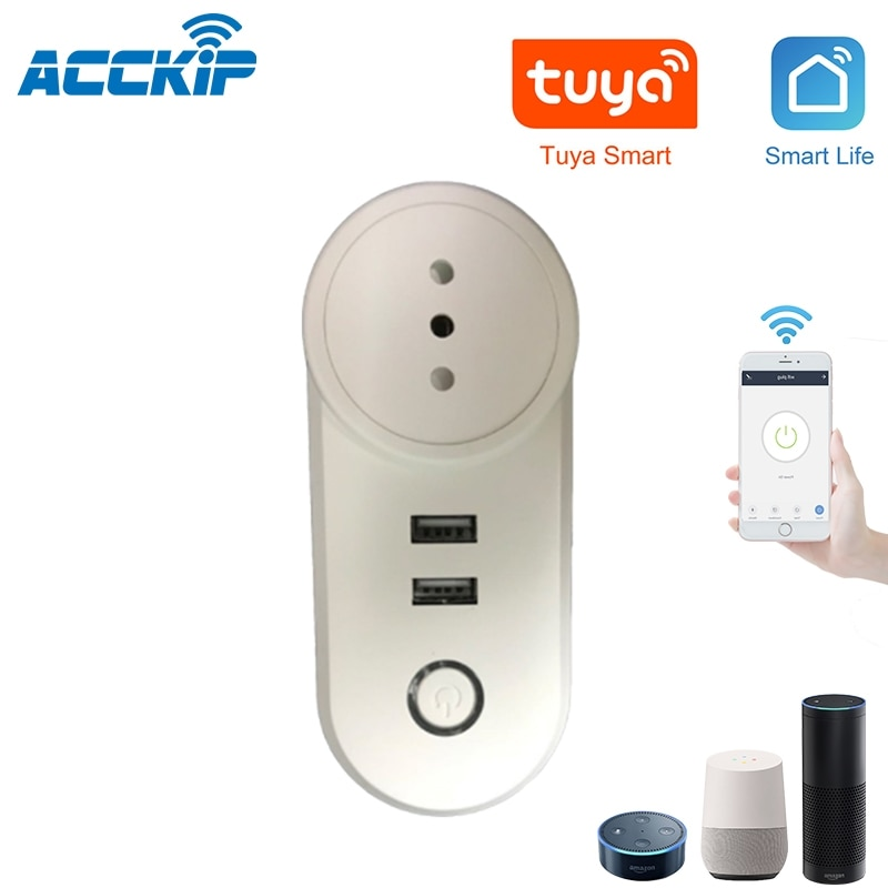 ACCKIP Smart Plug Wifi Smart Socket Italy Chile Outlet 10A Tuya Alexa Google Home with 2 USB Travel Adapter